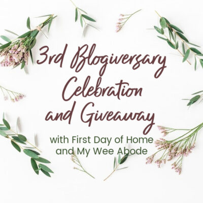 "3-Year Blogging Anniversary image with text overlay reading ""3rd Blogiversary Celebration and Giveaway"""