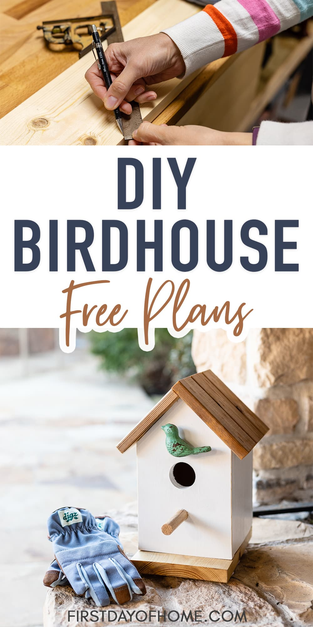 "Homemade birdhouse with steps for building and text overlay reading ""DIY Birdhouse Free Plans"""