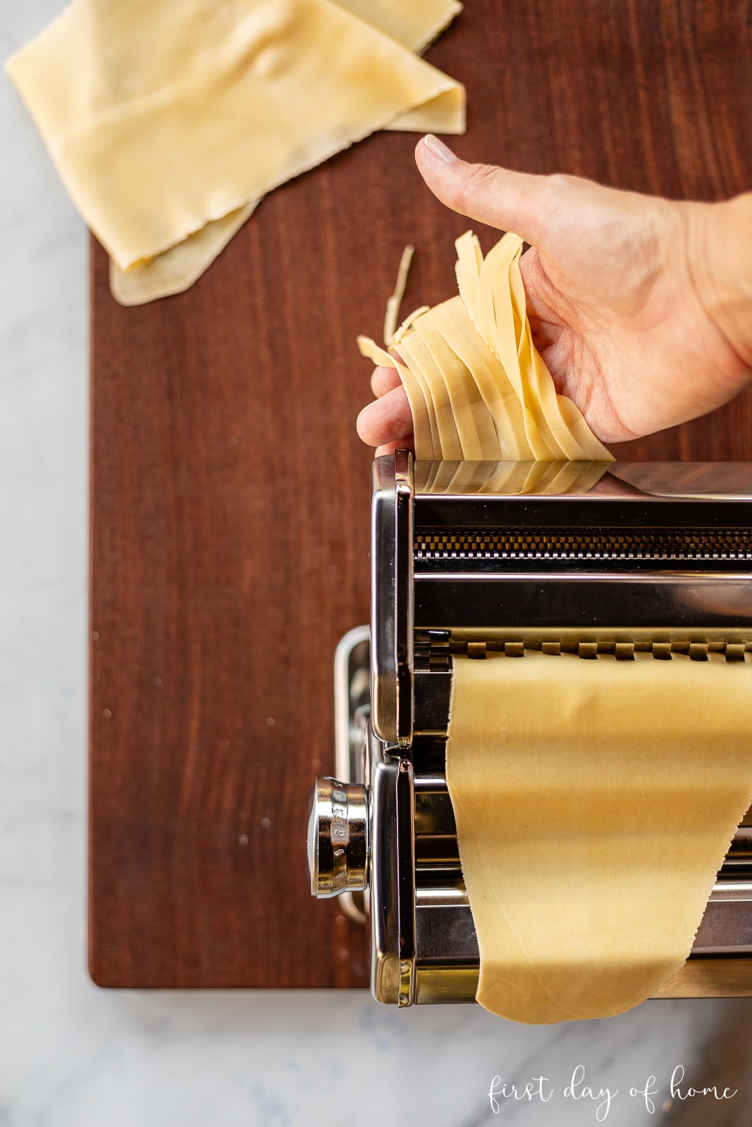 Homemade pasta noodles coming out of pasta machine