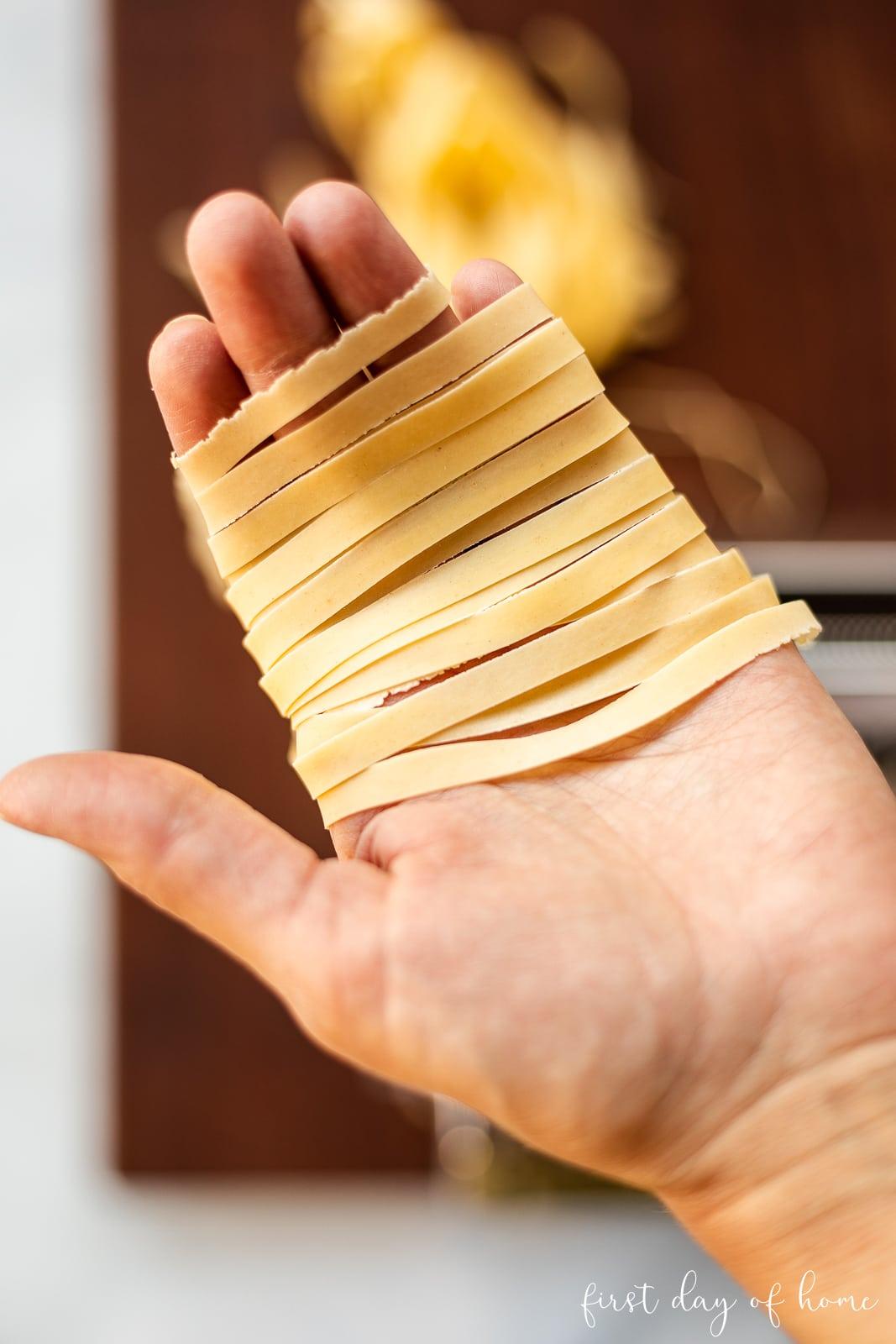 Pasta recipe cut into noodles