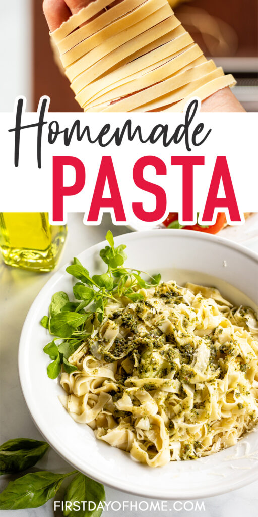 "Pasta noodles in hand and pasta dish with pesto sauce with text overlay ""Homemade Pasta"""