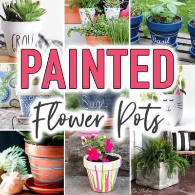 Painted flower pots collage