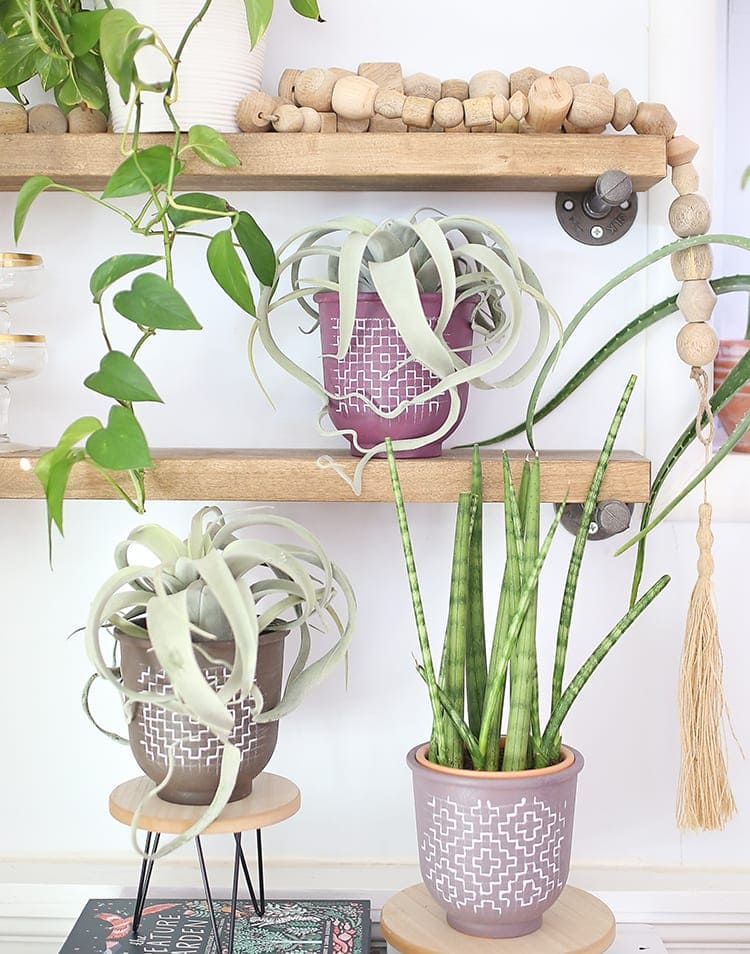 Painted flower pots with boho modern style sitting on open shelves