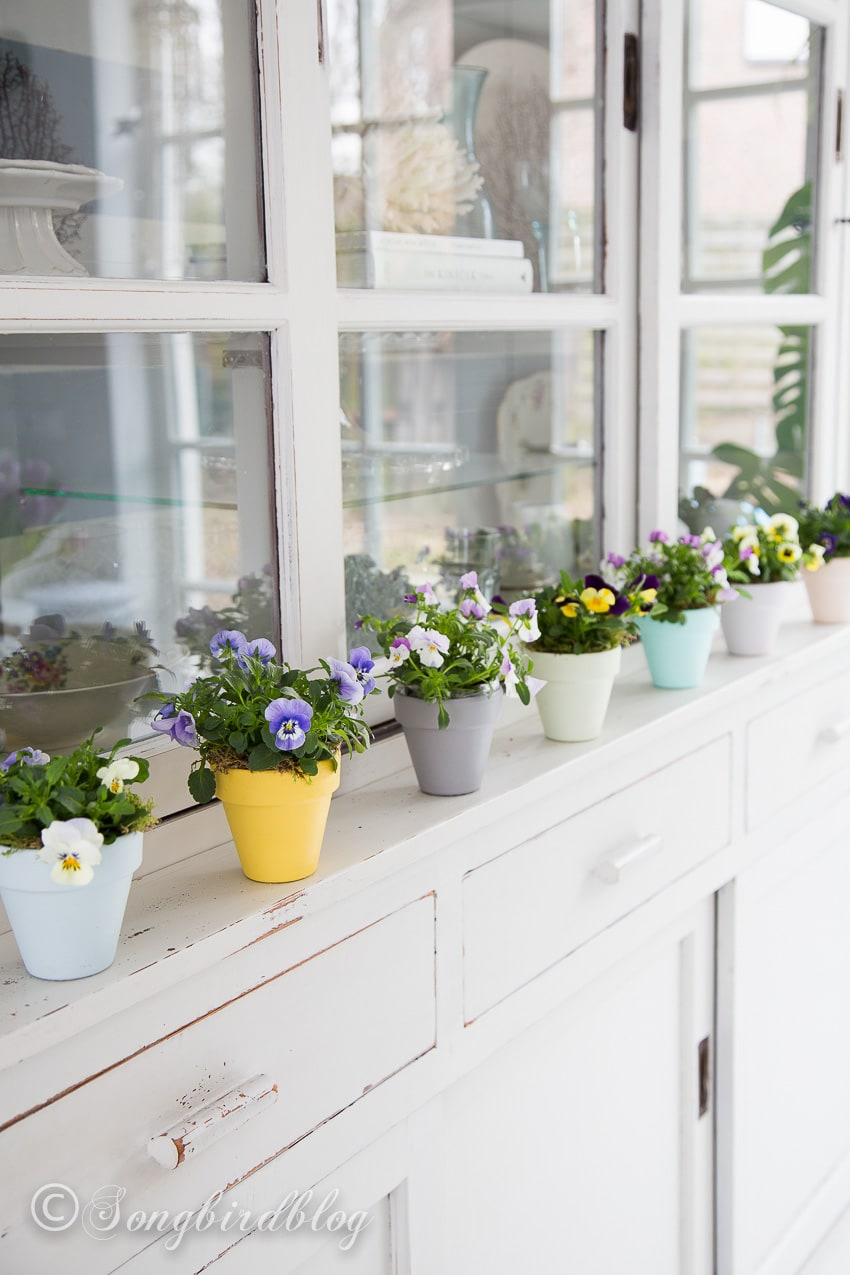 Row of spring colored clay pots on hutch