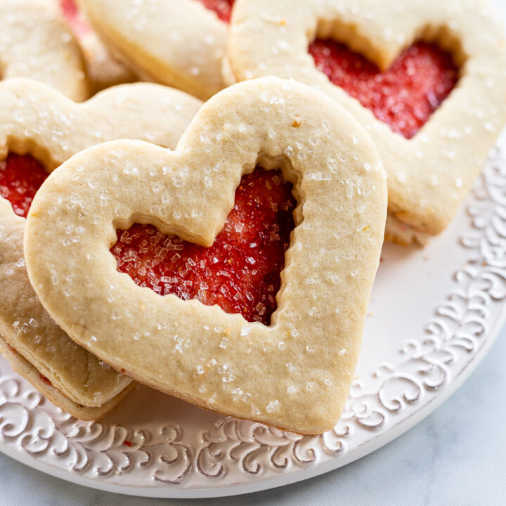 Heart shaped Valentine cookies with red jelly filling
