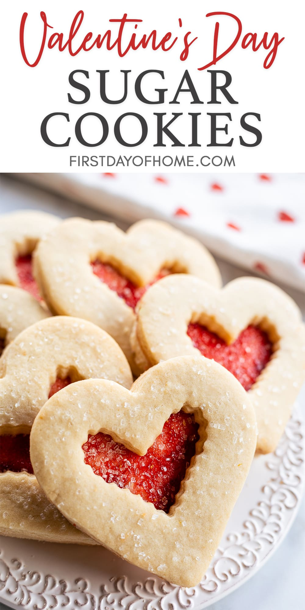 "Heart-shaped Valentine sugar cookies on plate with text reading ""Valentine's Day Sugar Cookies"""
