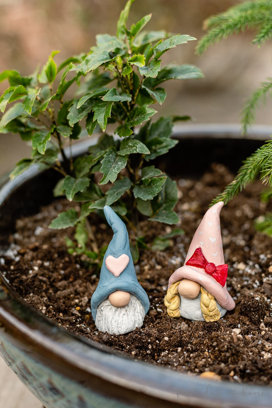Two valentine gnomes sitting in flower pot