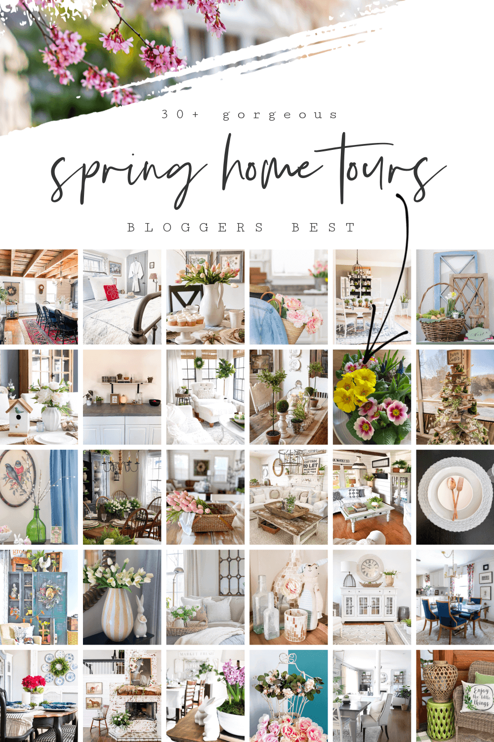 """Spring home tour collage with text overlay reading """"Spring Home Tours"""""""