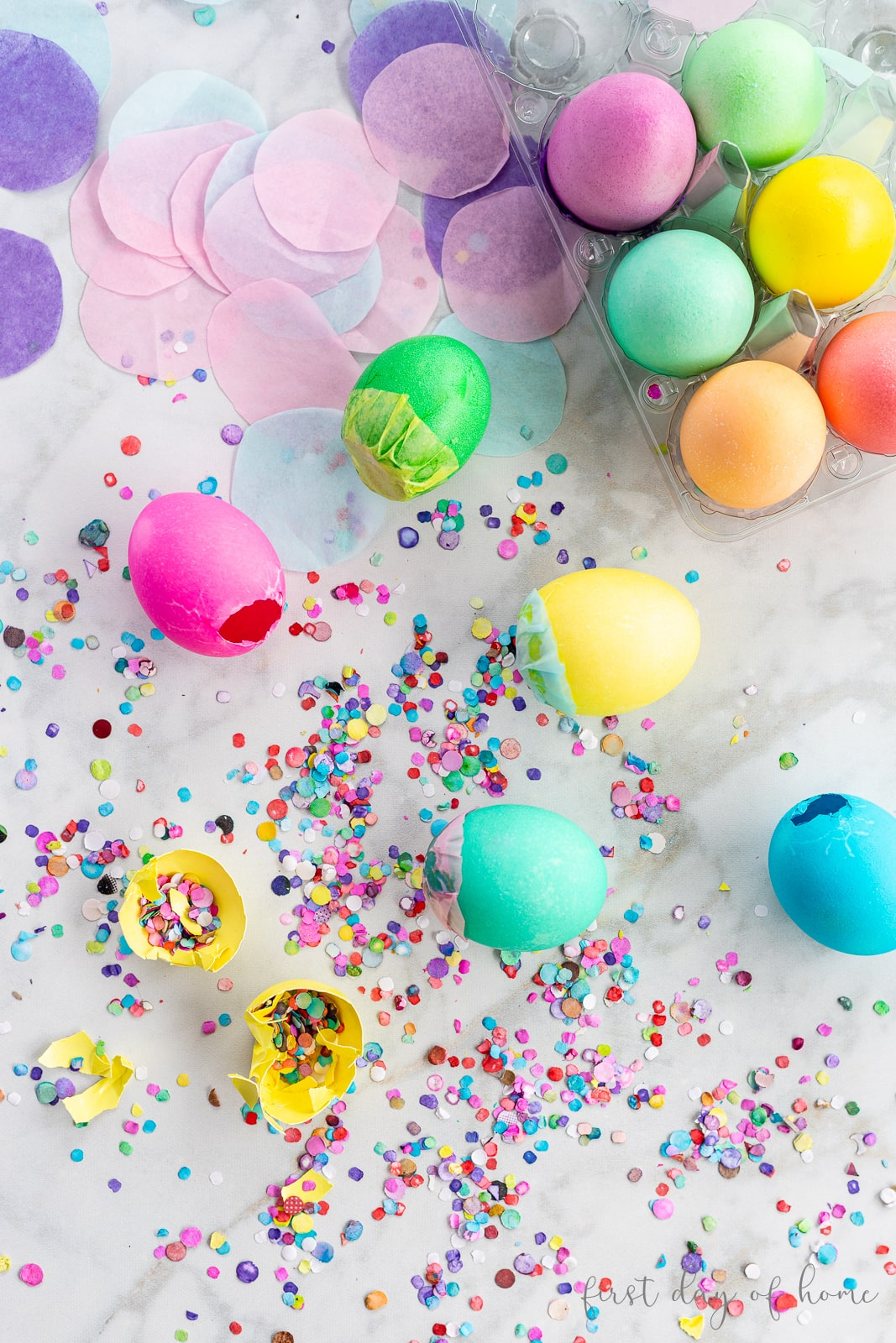Confetti filled decorated Easter eggs called cascarones