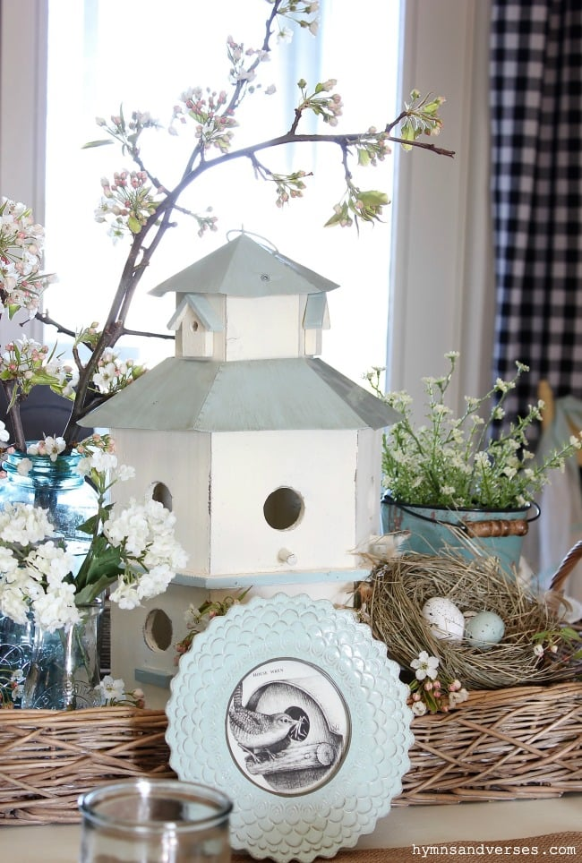 Birdhouse themed spring tablescape decor from Hymns and Verses blog