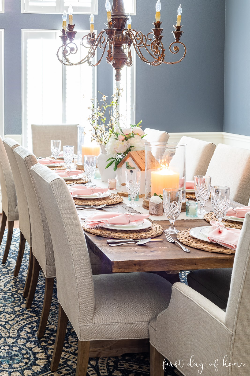 Dining room with spring table decor and pillar candles