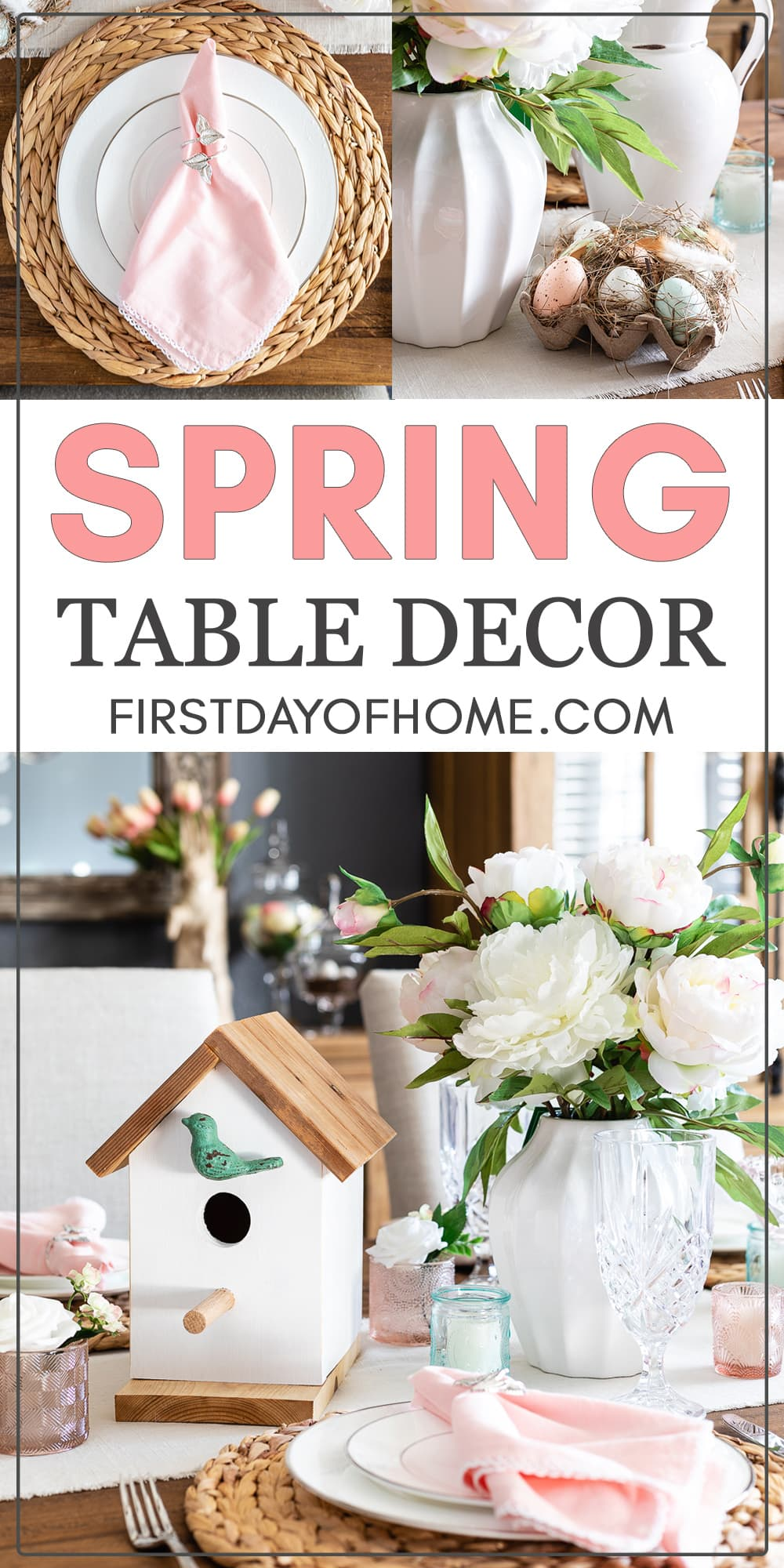 Spring table decorations with a birdhouse, woven charger plates, floral centerpieces and a pastel color theme