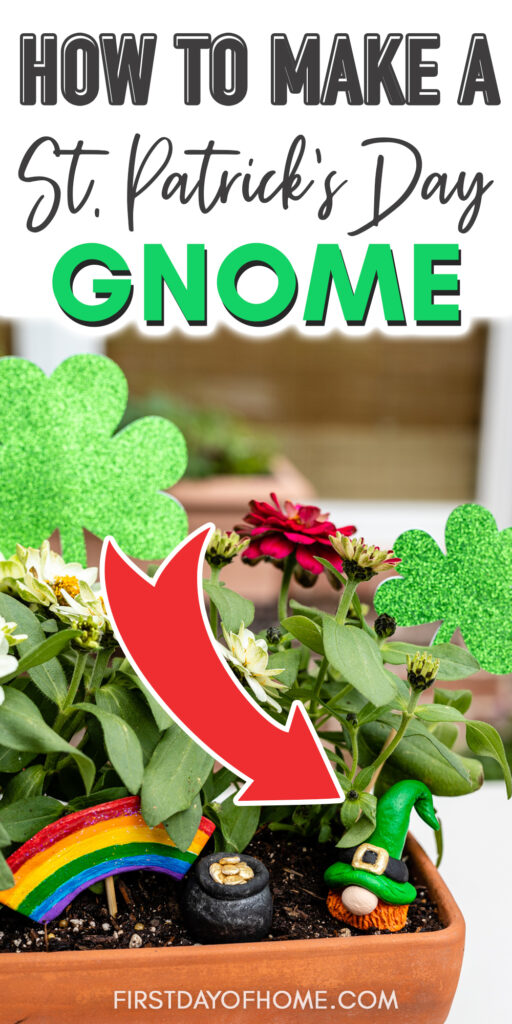 "Air dry clay St. Patrick's Day gnome with text overlay reading ""How to Make a St. Patrick's Day Gnome"""