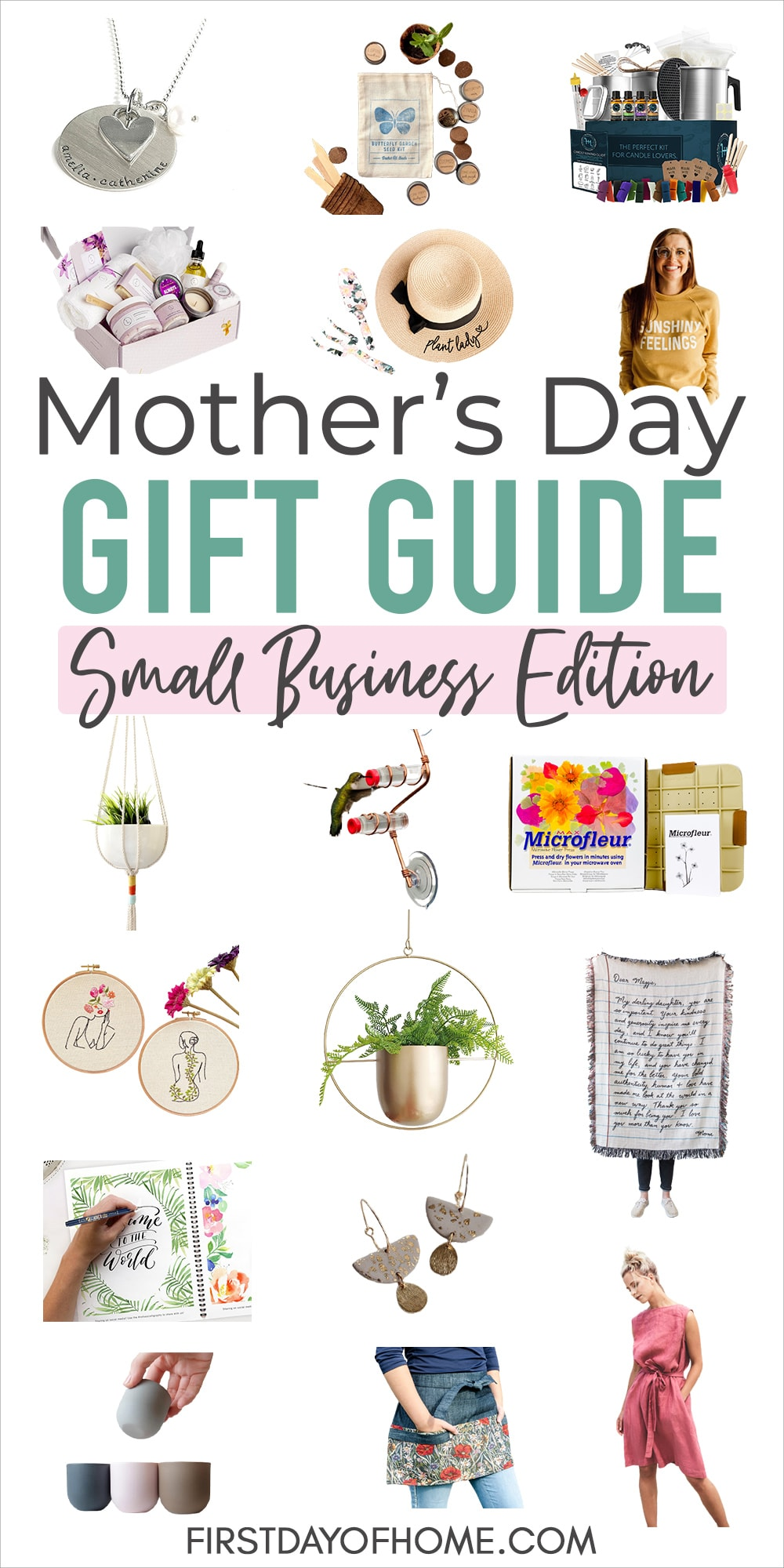 """Collection of gift items including apparel, jewelry, gardening gifts and craft/hobby kits for mothers with text overlay reading """"Mother's Day Gift Guide Small Business Edition"""""""
