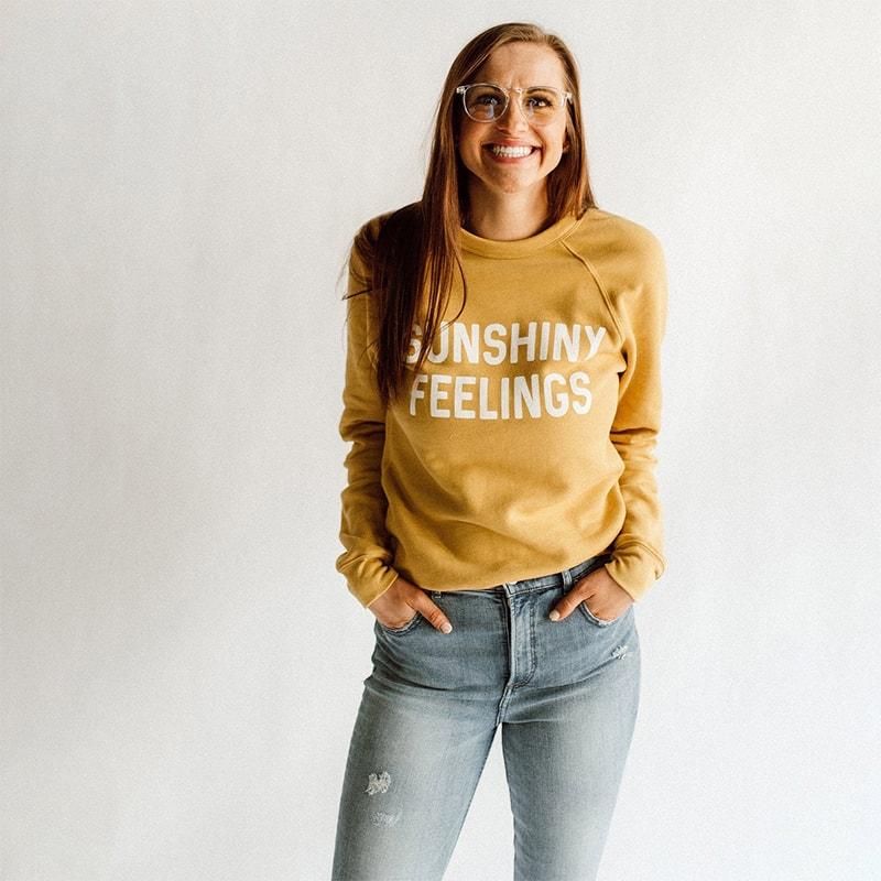 Sunshiny Feelings lettered sweatshirt