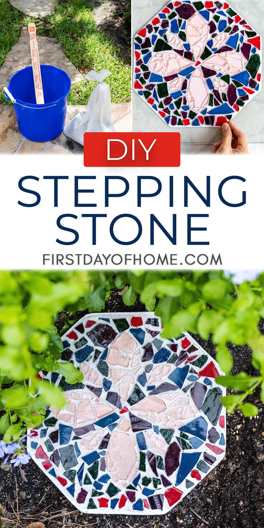 """Steps for making DIY stepping stones with text overlay reading """"DIY Stepping Stone"""""""