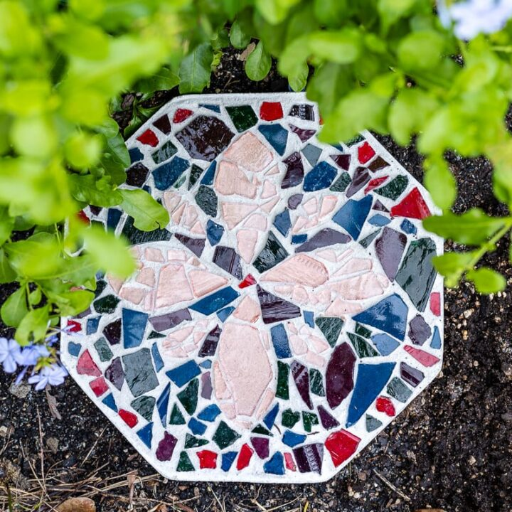DIY mosaic stepping stone with flower pattern