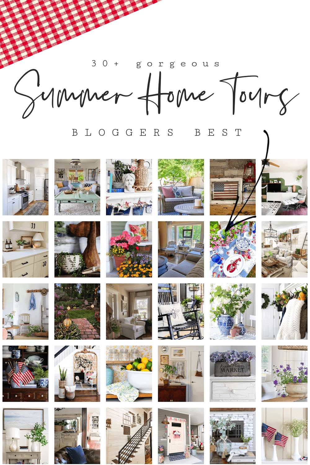 """Collage with images of home decor for summer season with text overlay reading """"Summer Home Tours"""""""
