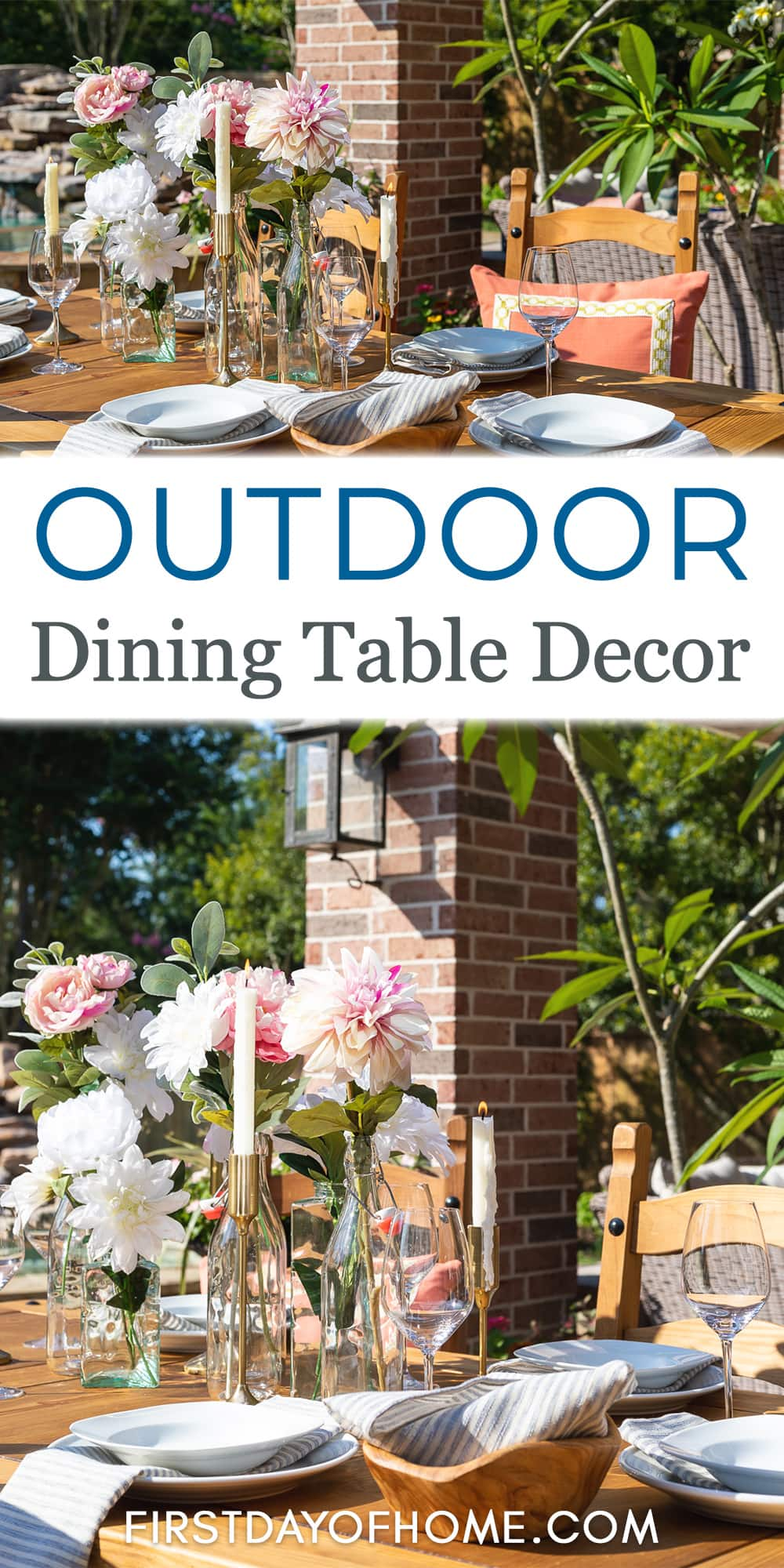 Images of outdoor dining table with floral centerpiece using glass bottles as well as taper candles