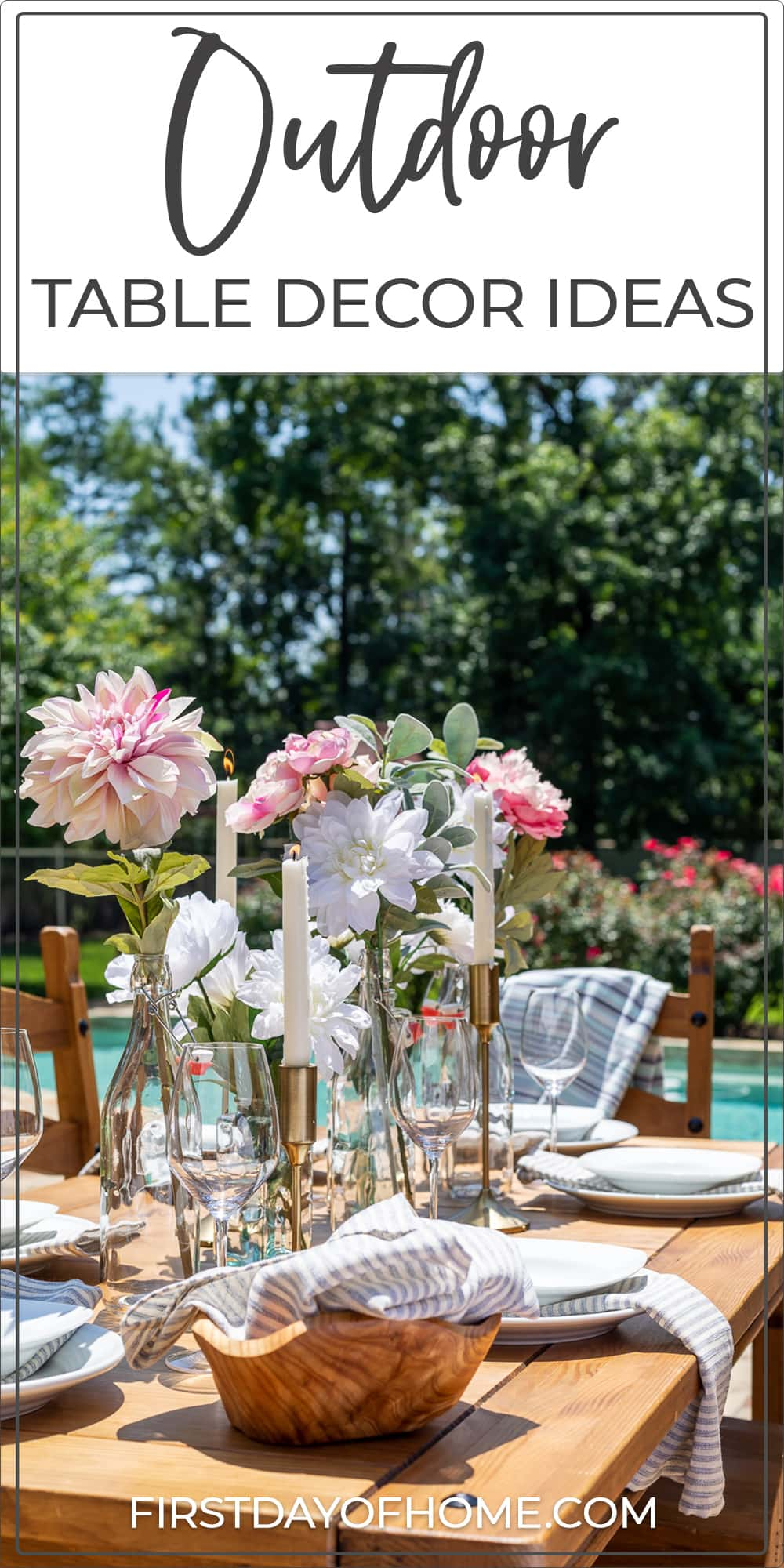 """Outdoor dining table with floral centerpiece and taper candles with text overlay reading """"Outdoor Table Decor Ideas"""""""