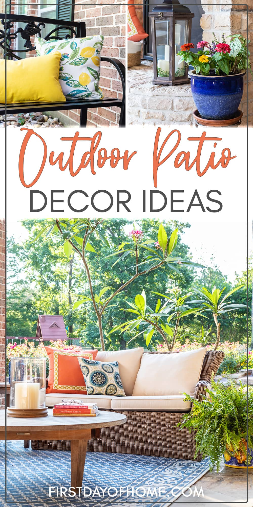 """Collage of outdoor patio ideas, including throw pillows, planters, and outdoor furniture. Text overlay reads """"Summer Home Decor"""""""