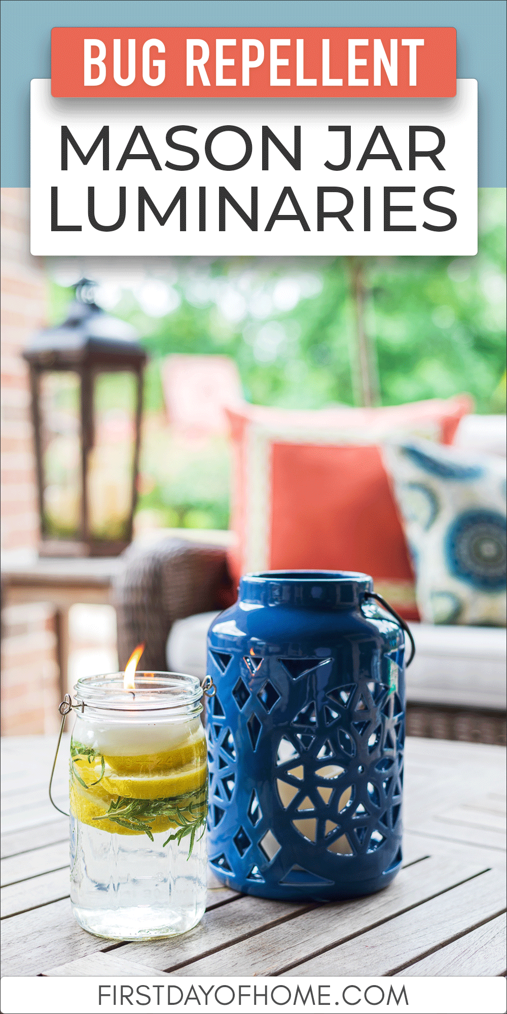"""Bug repellent mason jar luminary with a lantern on a patio table with text reading """"Bug Repellent Mason Jar Luminaries"""""""