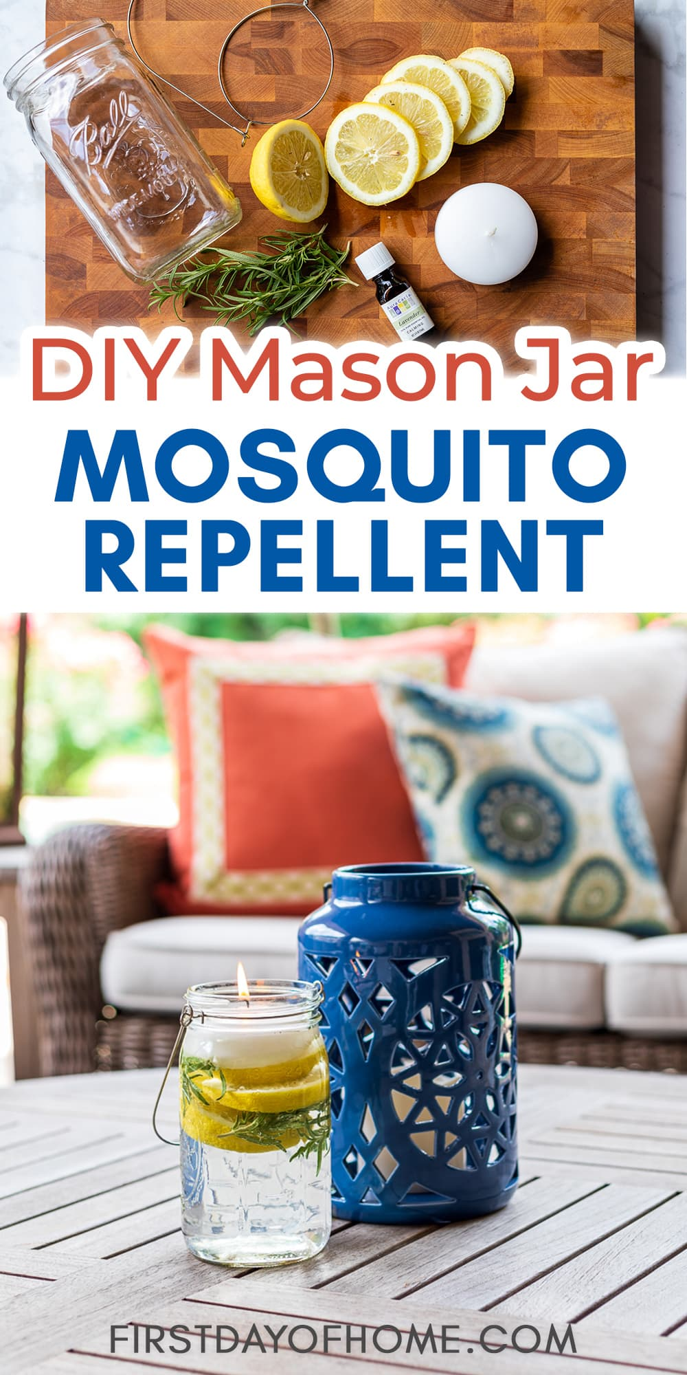 """Mosquito repellent mason jar luminary with lantern and text overlay reading """"DIY Mason Jar Mosquito Repellent."""" Also pictures the ingredients for making the luminary."""