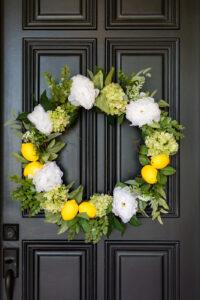 DIY Summer Wreath with Lemons and Hydrangeas
