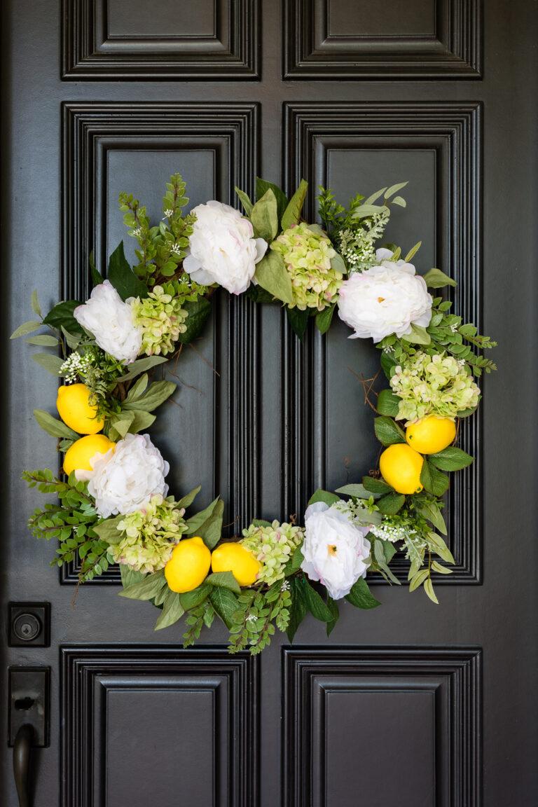 Front door wreath with lemons, hydrangeas, and peonies