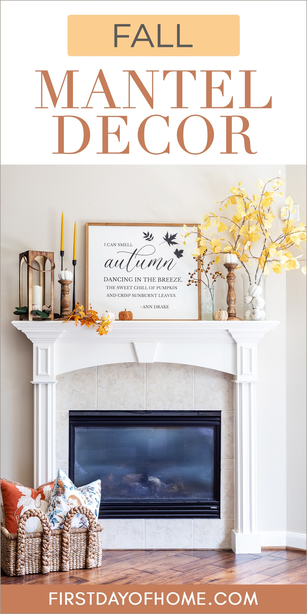 """Fall mantel decorations with faux aspen branches, pumpkins, and a fall farmhouse sign with text overlay reading """"Fall Mantel Decor"""""""