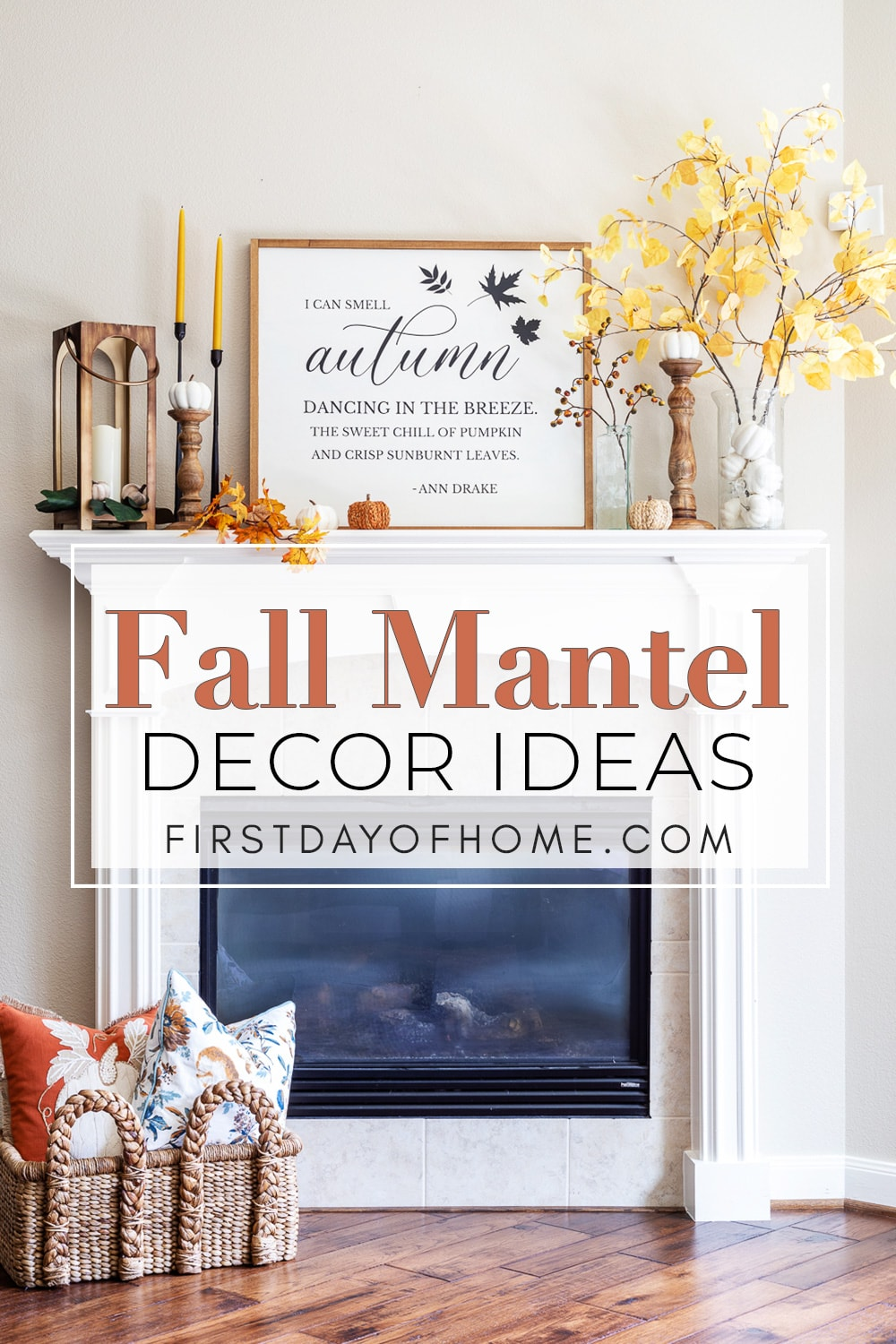 Fall mantel decor with faux aspen stems, glass vases, candlestick holders, a lantern, and a farmhouse sign