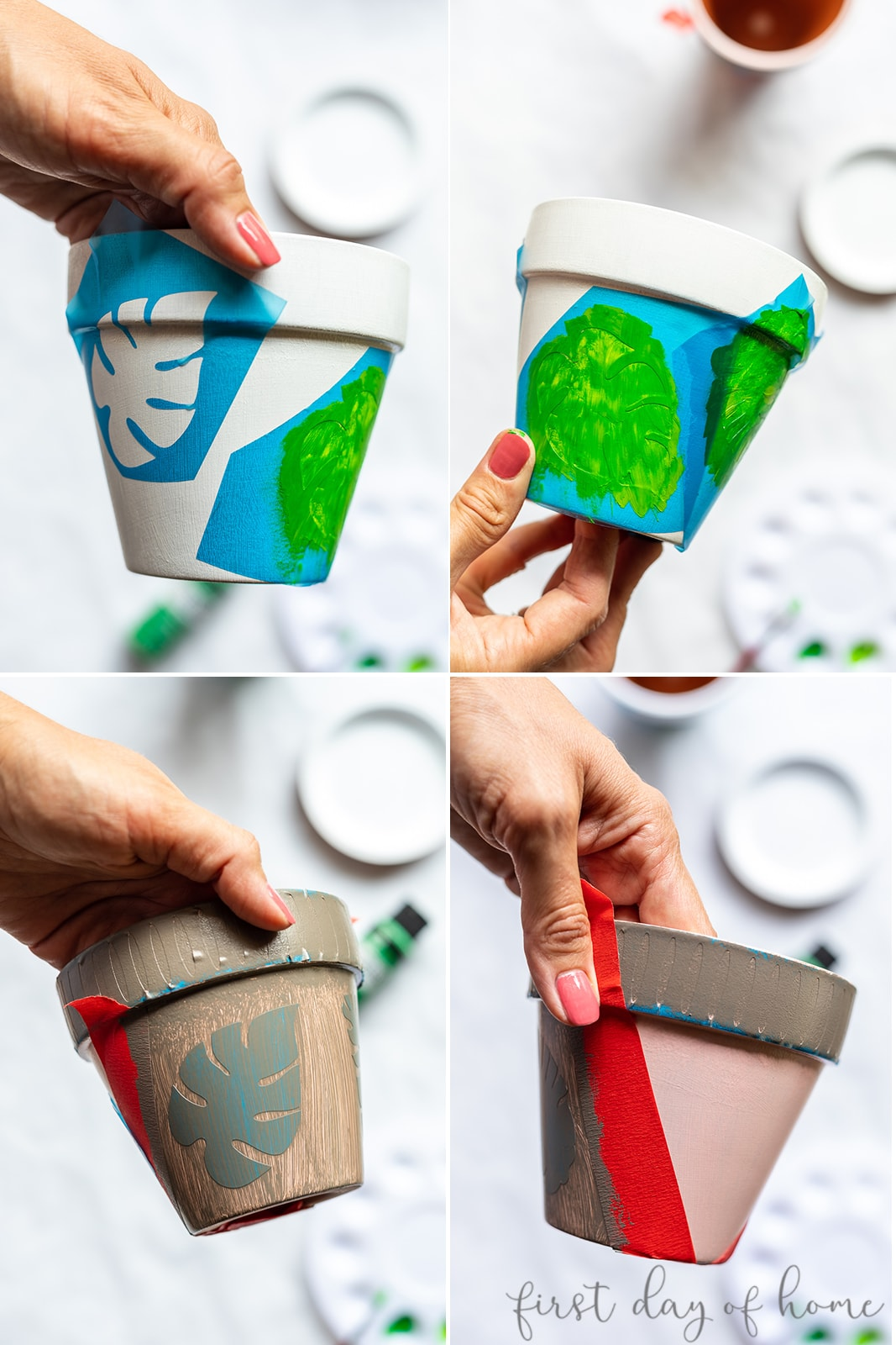 Steps to make painted flower pots using stencils