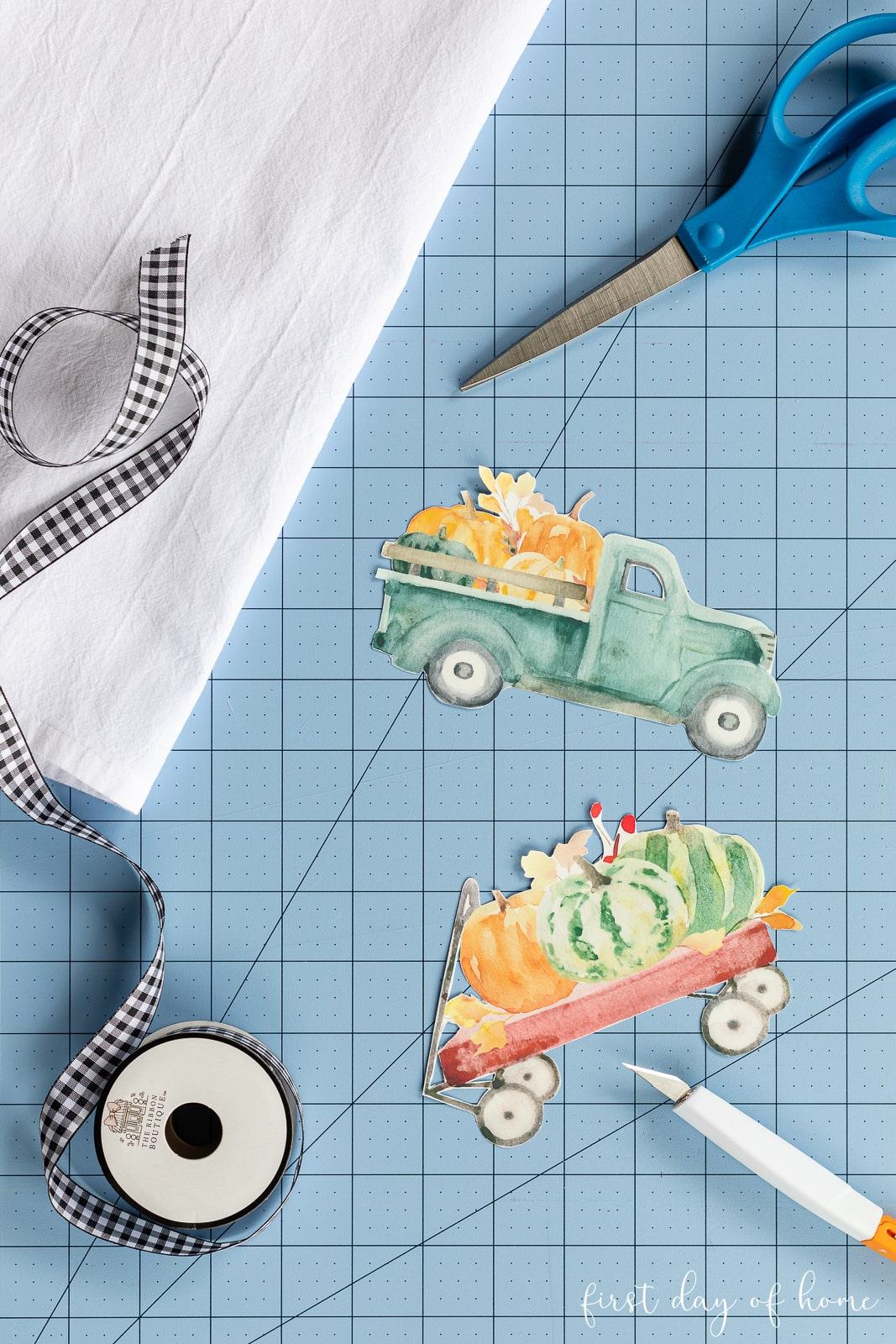 Cutouts of images for image transfer to make DIY tea towels