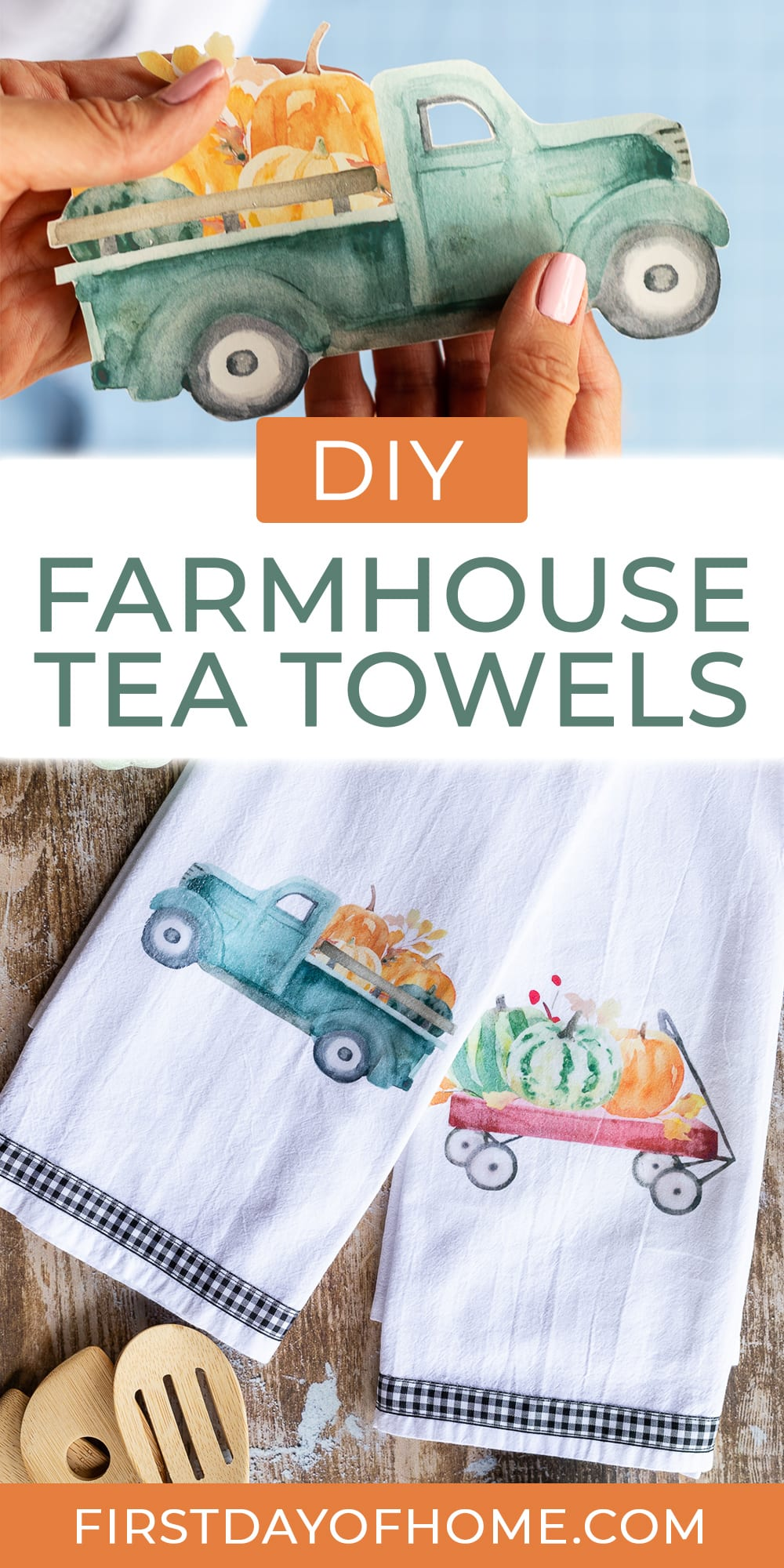 """DIY tea towels with fall pumpkin images and text overlay reading """"DIY Farmhouse Tea Towels"""""""