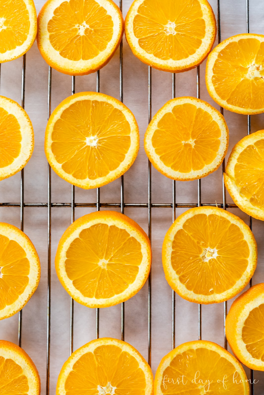 Orange slices on baking rack before drying in the oven
