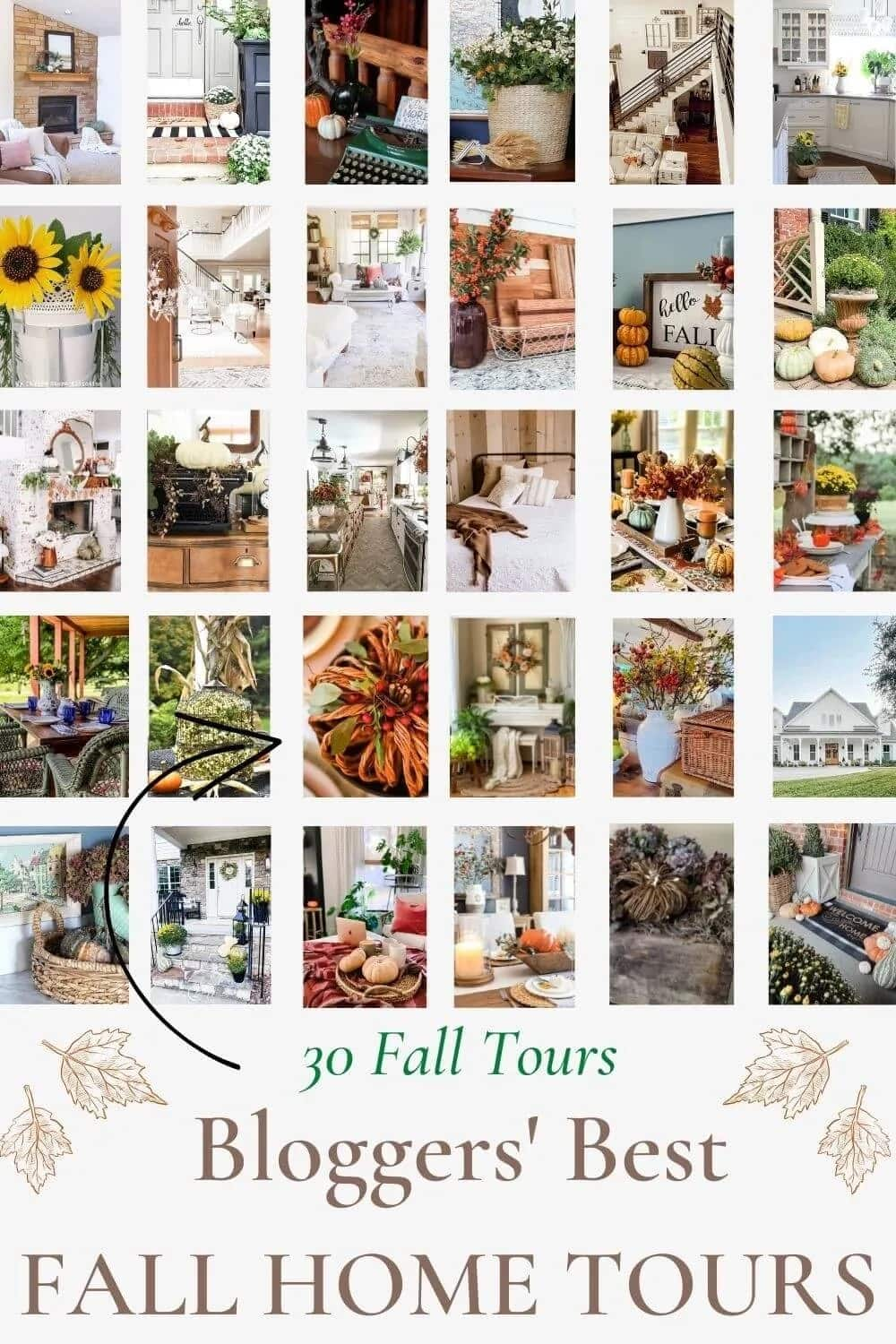 """Collage of fall home decor with text reading """"Bloggers' Best Fall Home Tours"""""""