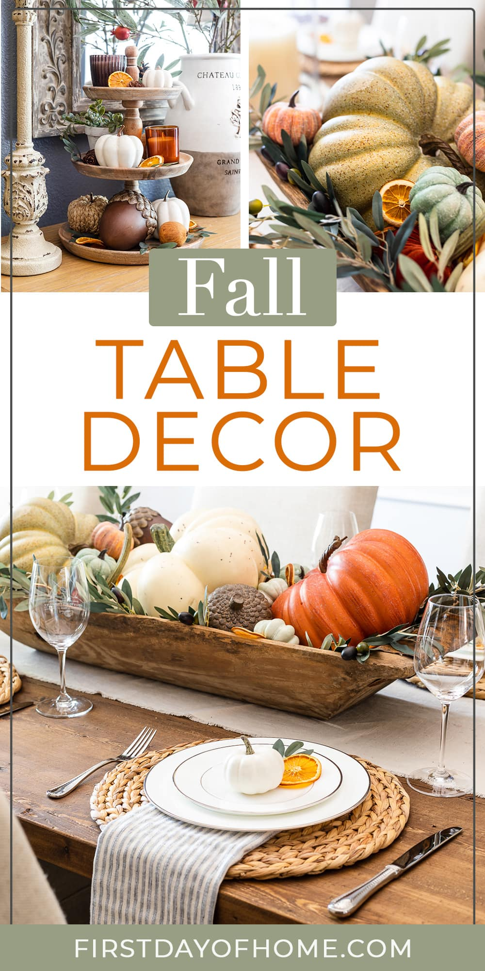 """Collage of fall table decor and centerpieces with text overlay reading """"Fall Table Decor"""""""